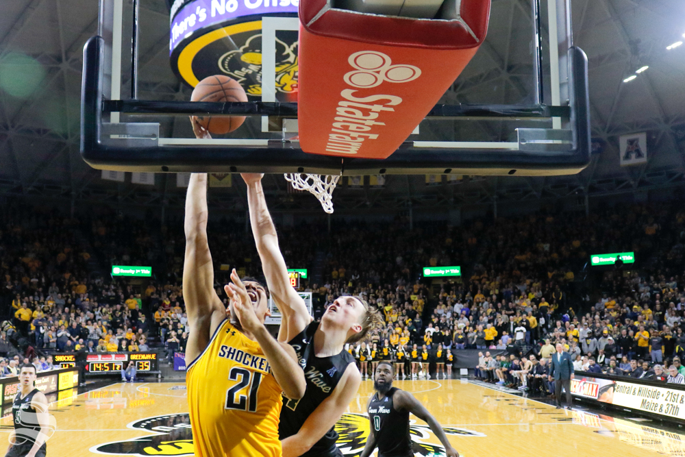 Wichita+State+forward+Jaime+Echenique+goes+up+for+a+ball+during+the+game+against+Tulane+on+Feb.+9%2C+2019+at+Charles+Koch+Arena.+%28Photo+by+Joseph+Barringhaus%2FThe+Sunflower%29.