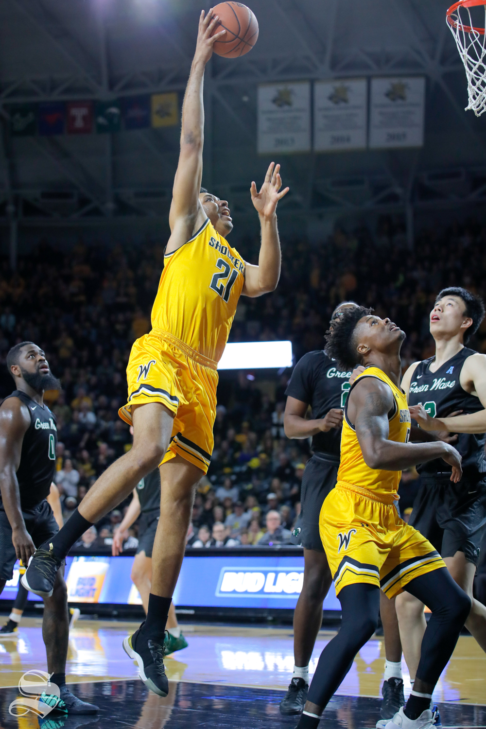Wichita+State+forward+Jaime+Echenique+reaches+up+for+a+basket+during+the+game+against+Tulane+on+Feb.+9%2C+2019+at+Charles+Koch+Arena.+%28Photo+by+Joseph+Barringhaus%2FThe+Sunflower%29.
