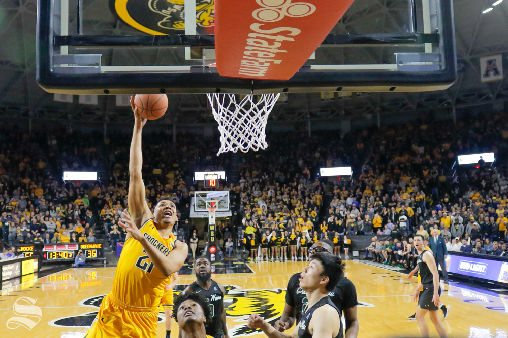 Wichita+State+forward+Jaime+Echenique+goes+up+for+a+shot+during+the+game+against+Tulane+on+Feb.+9%2C+2019+at+Charles+Koch+Arena.+%28Photo+by+Joseph+Barringhaus%2FThe+Sunflower%29.