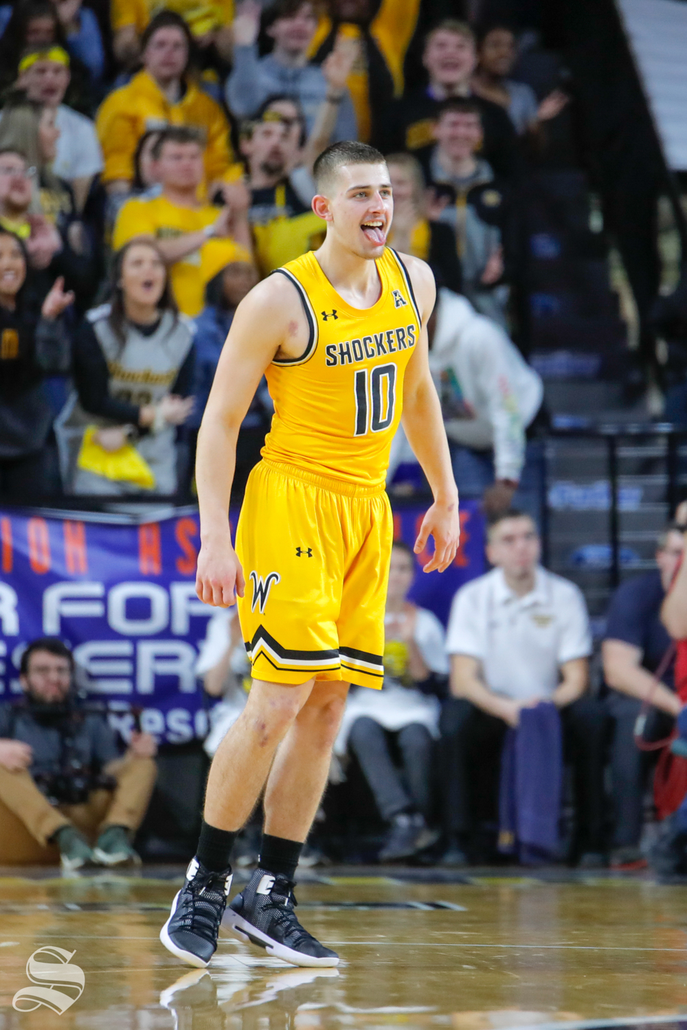 Wichita+State+guard+Erik+Stevenson+sticks+his+tongue+out+after+making+a+three-point+basket+during+the+game+against+Tulane+on+Feb.+9%2C+2019+at+Charles+Koch+Arena.+%28Photo+by+Joseph+Barringhaus%2FThe+Sunflower%29.