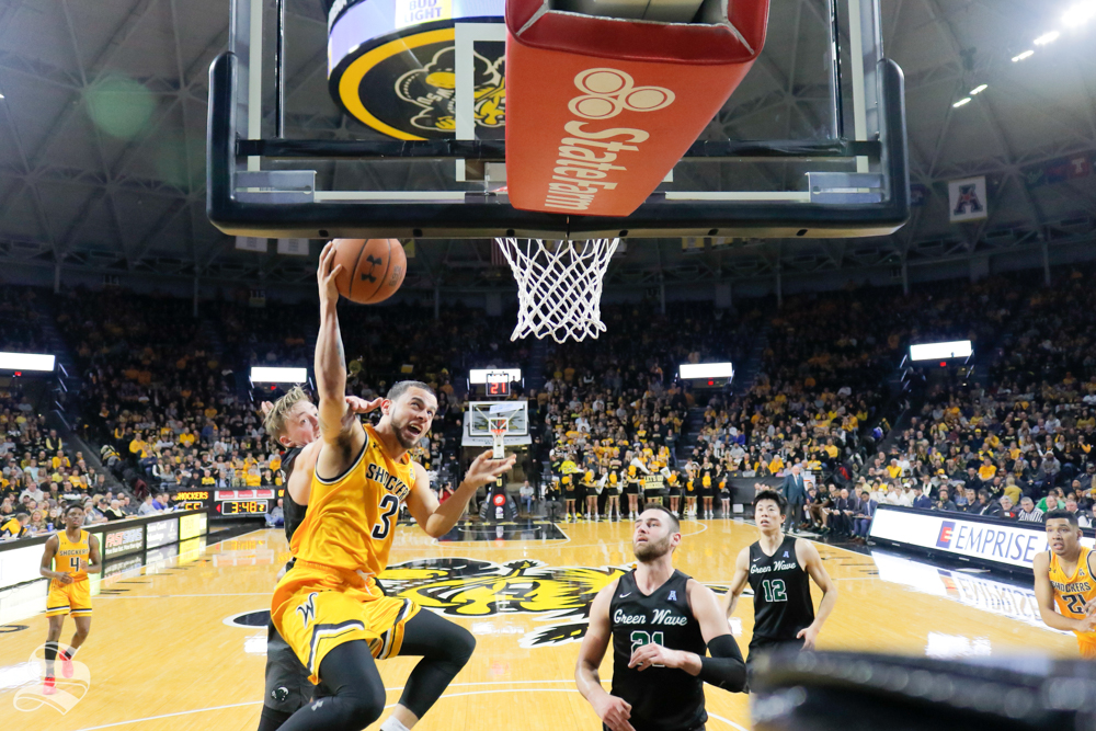Wichita+State+guard+Ricky+Torres+goes+up+for+a+basket+during+the+game+against+Tulane+on+Feb.+9%2C+2019+at+Charles+Koch+Arena.+%28Photo+by+Joseph+Barringhaus%2FThe+Sunflower%29.