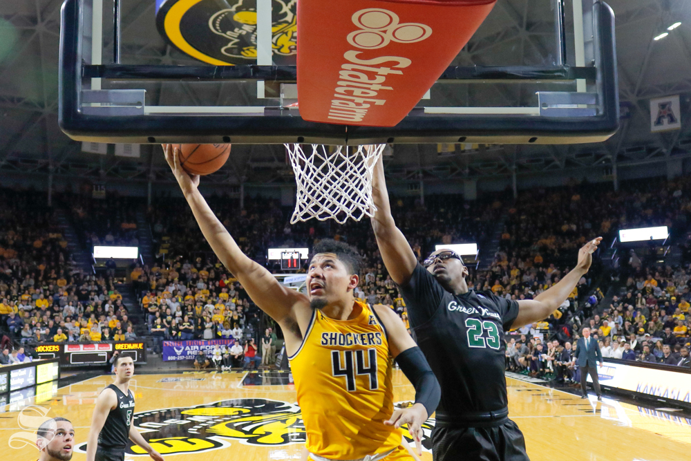 Wichita+State+forward+Isaiah+Poor+Bear-Chandler+makes+a+layup+during+the+game+against+Tulane+on+Feb.+9%2C+2019+at+Charles+Koch+Arena.+%28Photo+by+Joseph+Barringhaus%2FThe+Sunflower%29.