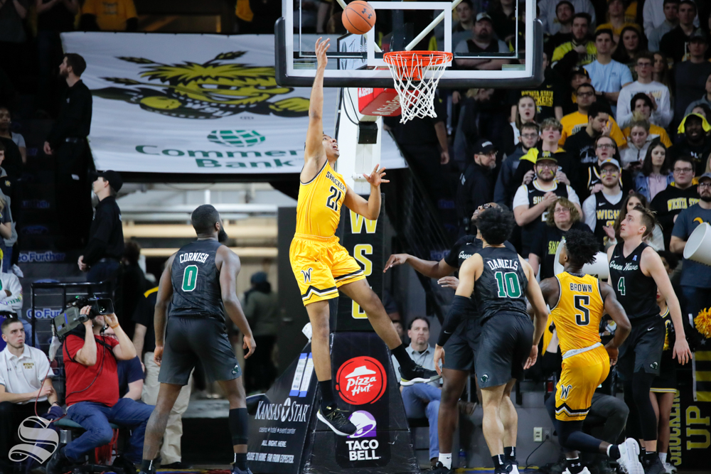 Wichita+State+forward+Jaime+Echenique+makes+a+layup+during+the+game+against+Tulane+on+Feb.+9%2C+2019+at+Charles+Koch+Arena.+%28Photo+by+Joseph+Barringhaus%2FThe+Sunflower%29.