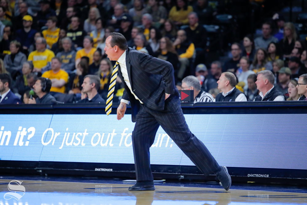 Wichita+State+coach+Gregg+Marshall+steps+onto+the+court+to+yell+to+his+team+during+the+game+against+Tulane+on+Feb.+9%2C+2019+at+Charles+Koch+Arena.+%28Photo+by+Joseph+Barringhaus%2FThe+Sunflower%29.