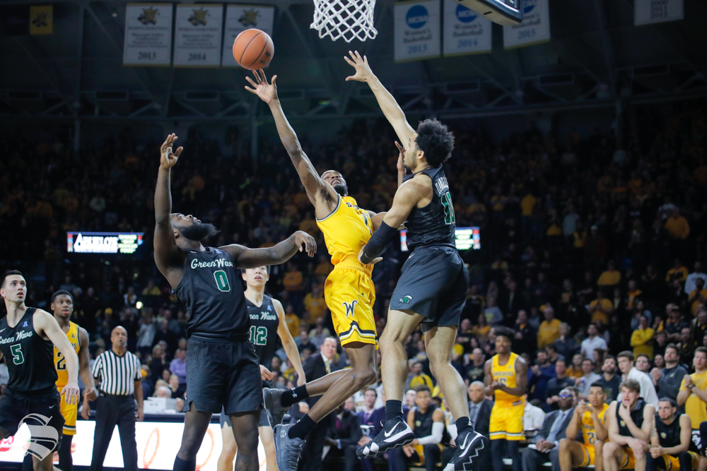 Wichita+State+forward+Markis+McDuffie+puts+the+ball+up+during+the+game+against+Tulane+on+Feb.+9%2C+2019+at+Charles+Koch+Arena.+%28Photo+by+Joseph+Barringhaus%2FThe+Sunflower%29.