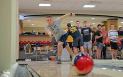 Wichita State freshman Nick Sommer practices with his team on Feb. 12, 2019 at the Rhatigan Student Center. Sommer wants to own his own business after college, preferably in the bowling industry. (Photo by Joseph Barringhaus/The Sunflower).