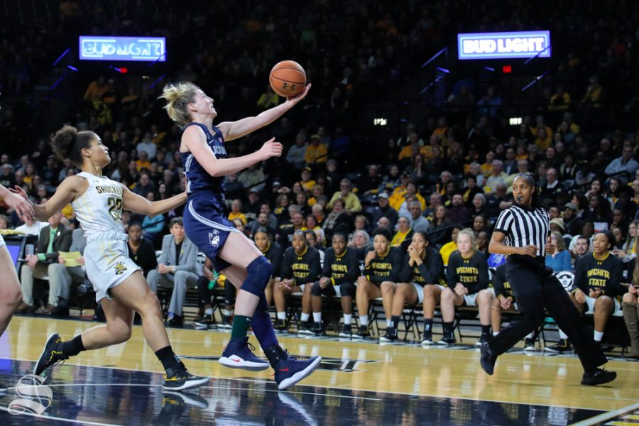 UConn+guard+Katie+Lou+Samuelson+reaches+out+for+a+layup+during+the+game+against+Wichita+State+at+Charles+Koch+Arena+on+Feb.+26%2C+2019.+%28Photo+by+Joseph+Barringhaus%2FThe+Sunflower%29.
