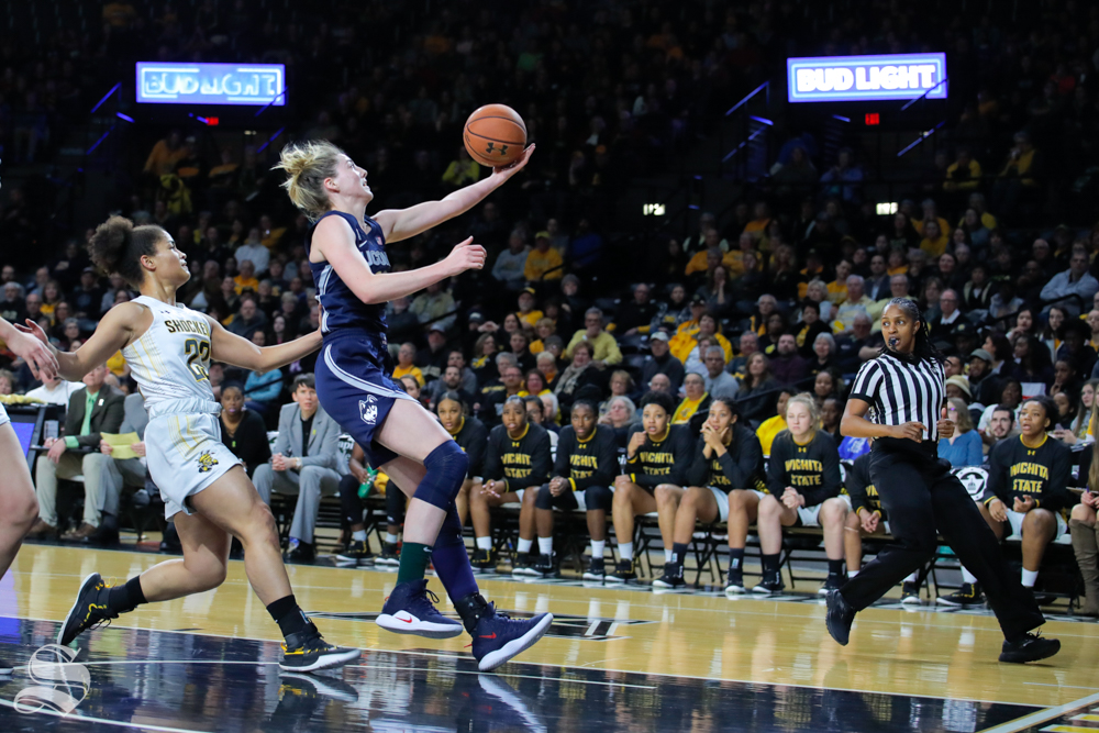 UConn guard Katie Lou Samuelson reaches out for a layup during the game against Wichita State at Charles Koch Arena on Feb. 26, 2019. (Photo by Joseph Barringhaus/The Sunflower).
