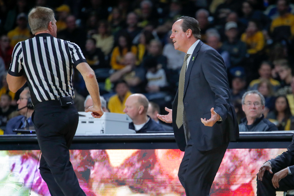 Coach+Gregg+Marshall+looks+to+the+ref+in+confusion+after+a+call+is+made+in+the+second+half+of+the+game+against+UConn+on+Feb.+28%2C+2019+at+Charles+Koch+Arena.+%28Photo+by+Joseph+Barringhaus%2FThe+Sunflower.%29