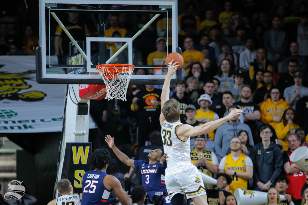 Wichita+State+center+Asbj%C3%B8rn+Midtgaard+makes+a+block+in+the+second+half+of+the+game+against+UConn+on+Feb.+28%2C+2019+at+Charles+Koch+Arena.+%28Photo+by+Joseph+Barringhaus%2FThe+Sunflower.%29