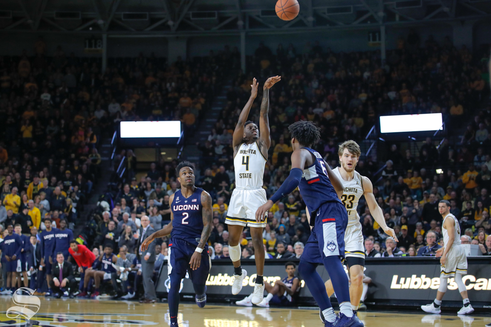 Wichita+State+guard+Samajae+Haynes-Jones+takes+a+three-point+basket+in+the+second+half+of+the+game+against+UConn+on+Feb.+28%2C+2019+at+Charles+Koch+Arena.+Haynes-Jones+led+the+team+with+20+points+in+the+win+over+UConn.+%28Photo+by+Joseph+Barringhaus%2FThe+Sunflower.%29