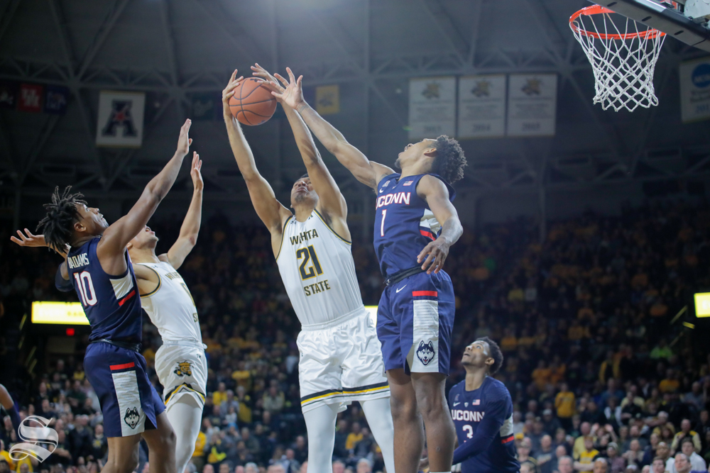 Wichita+State+forward+Jaime+Echenique+goes+up+for+an+offensive+rebound+during+the+second+half+of+the+game+on+Feb.+28%2C+2019+at+Charles+Koch+Arena.+%28Photo+by+Joseph+Barringhaus%2FThe+Sunflower.%29