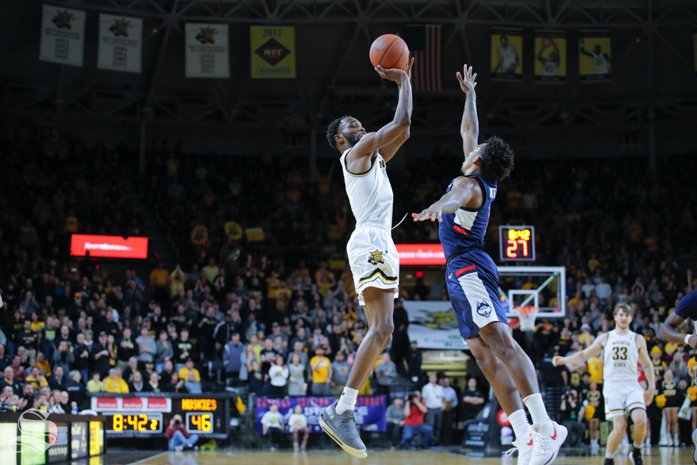 Wichita+State+senior+Markis+McDuffie+makes+a+shot+in+the+second+half+of+the+game+against+UConn+on+Feb.+28%2C+2019+at+Charles+Koch+Arena.+%28Photo+by+Joseph+Barringhaus%2FThe+Sunflower.%29