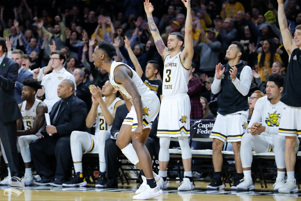 Wichita+State+guard+Samajae+Haynes-Jones+celebrates+in+the+second+half+of+the+game+against+UConn+on+Feb.+28%2C+2019+at+Charles+Koch+Arena.+%28Photo+by+Joseph+Barringhaus%2FThe+Sunflower.%29