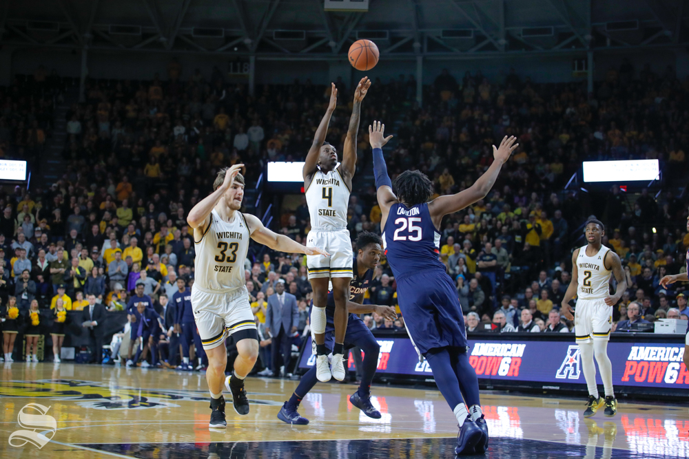 Wichita+State+guard+Samajae+Haynes-Jones+takes+a+shot+in+the+second+half+of+the+game+against+UConn+on+Feb.+28%2C+2019+at+Charles+Koch+Arena.+%28Photo+by+Joseph+Barringhaus%2FThe+Sunflower.%29