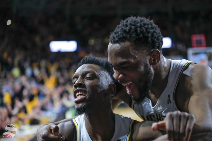 Wichita State senior Markis McDuffie hugs and celebrates with senior Samajae Haynes-Jones after making the buzzer beater to finish the game against UConn. McDuffie called Haynes-Jones' final shot Coach Marshall's