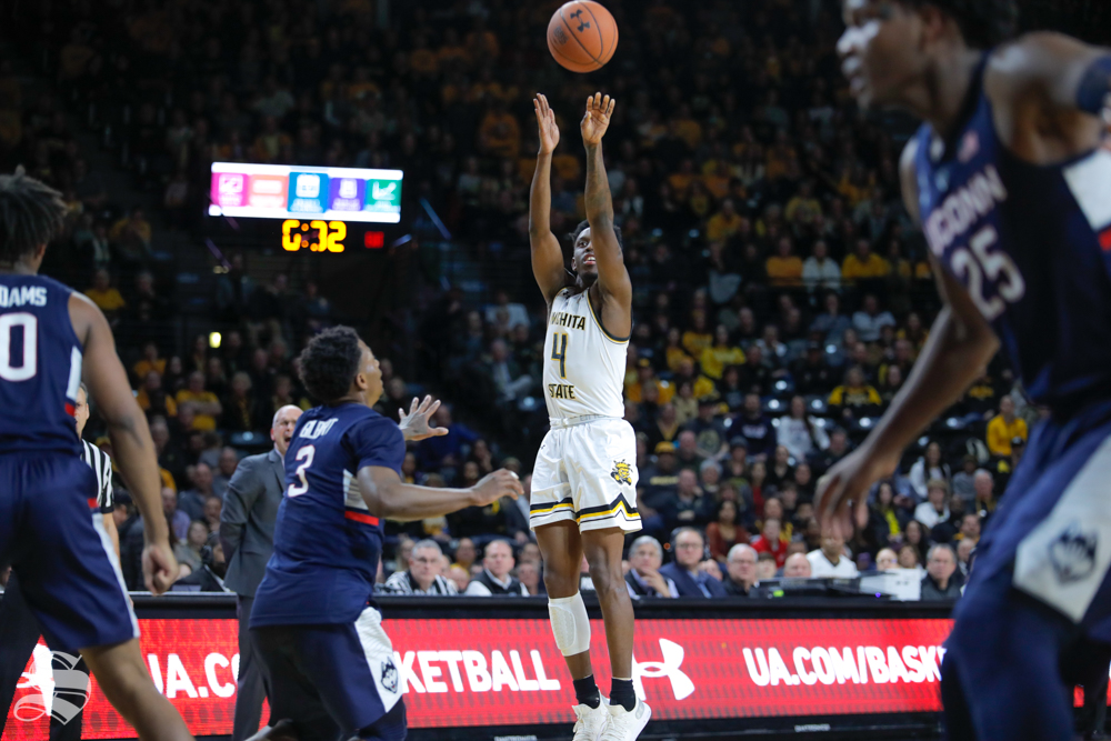 Wichita+State+guard+Samajae+Haynes-Jones+takes+a+shot+during+the+game+against+UConn+on+Feb.+28%2C+2019+at+Charles+Koch+Arena.+Haynes-Jones+was+2-4+behind+the+three-point+line+in+the+first+half.+%28Photo+by+Joseph+Barringhaus%2FThe+Sunflower.%29