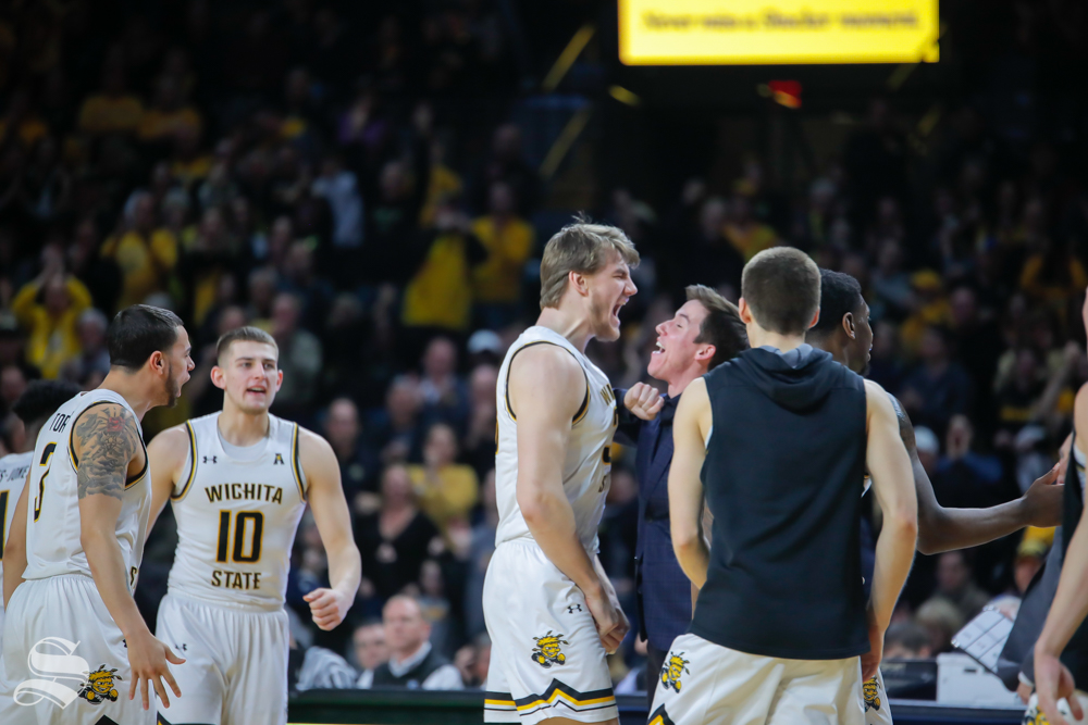 Wichita+State+center+Asbj%C3%B8rn+Midtgaard+celebrates+with+Kellen+Marshall+after+a+huge+dunk+in+the+second+half+of+the+game+against+UConn+on+Feb.+28%2C+2019+at+Charles+Koch+Arena.+%28Photo+by+Joseph+Barringhaus%2FThe+Sunflower.%29