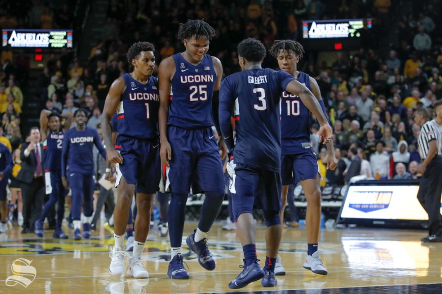 UConn+guard+Alterique+Gilbert+limps+to+his+teammates+in+the+second+half+of+the+game+against+Wichita+State+on+Feb.+28%2C+2019+at+Charles+Koch+Arena.+%28Photo+by+Joseph+Barringhaus%2FThe+Sunflower.%29
