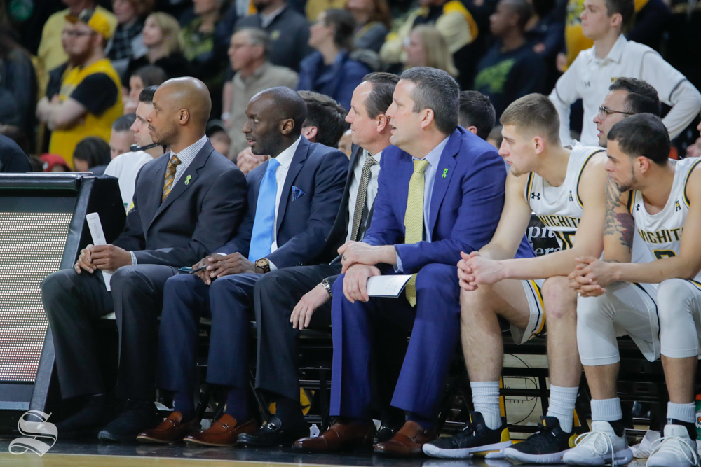Coach+Gregg+Marshall+sits+on+the+bench+after+a+bad+play+in+the+second+half+of+the+game+against+UConn+on+Feb.+28%2C+2019+at+Charles+Koch+Arena.+%28Photo+by+Joseph+Barringhaus%2FThe+Sunflower.%29