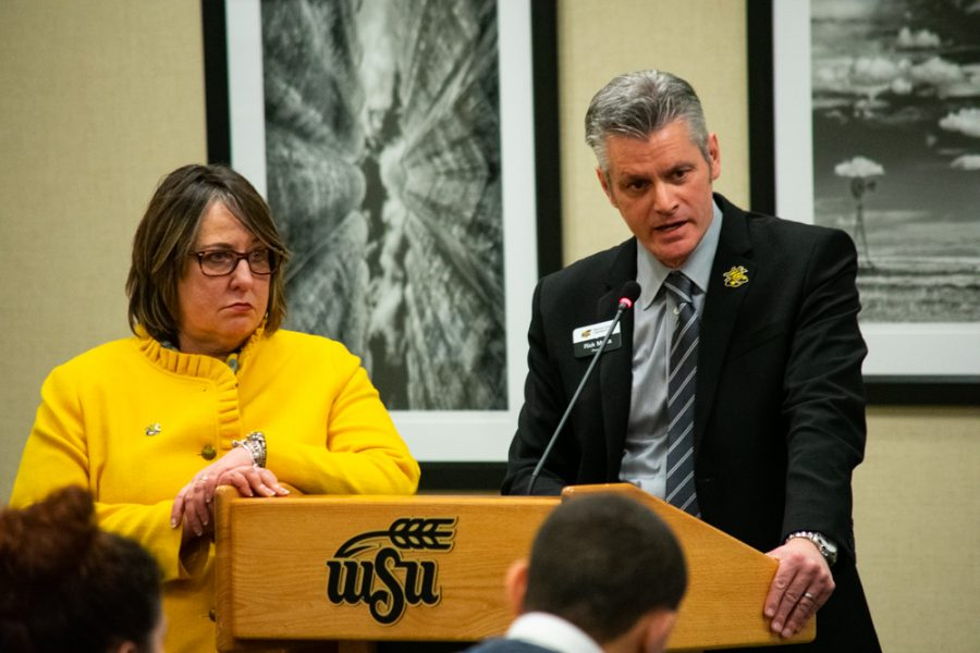 Provost Muma, with Vice President of Student Affairs Teri Hall, answers a question regarding the upcoming Student Fees Referendum from a student body senator at the SGA meeting on Wednesday, February 27.