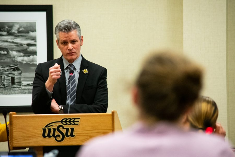 Provost Muma answers a question from a student body senator at the Student Government Association meeting on Wednesday, February 27.