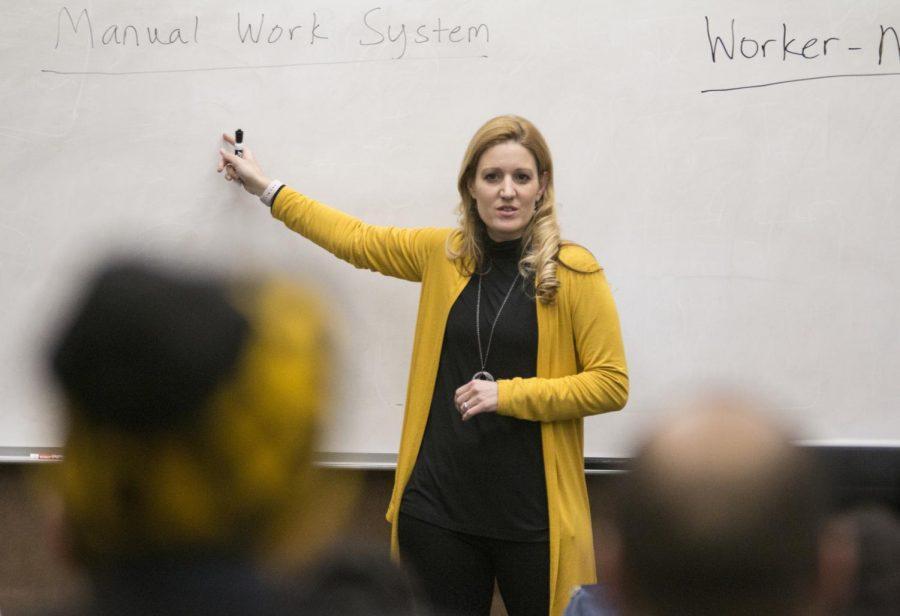 Cindi Mason teaches a class in Jabara Hall on Thursday, Jan. 31, 2019.