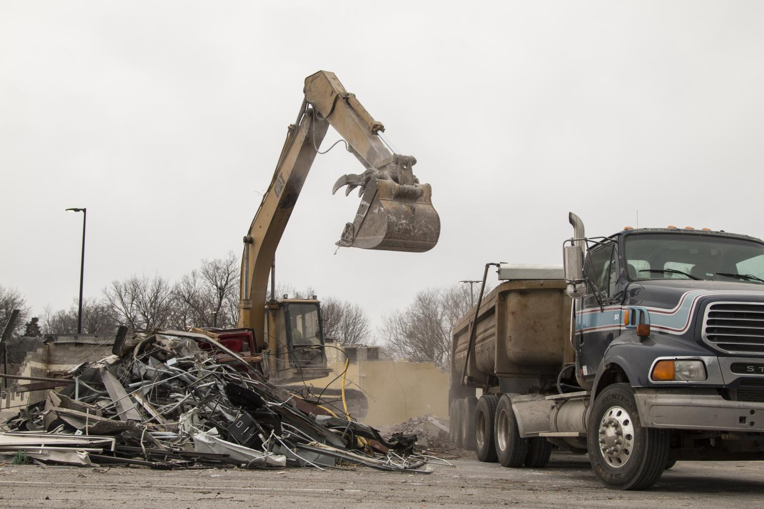 Blake Hall is in the process of being demolished on Tuesday, Feb. 19, 2019.