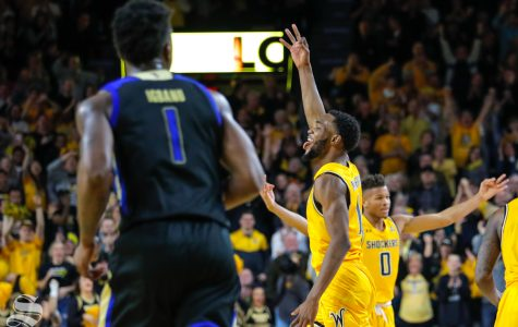 Markis McDuffie celebrates a made three-pointer against Tulsa on Saturday at Charles Koch Arena.