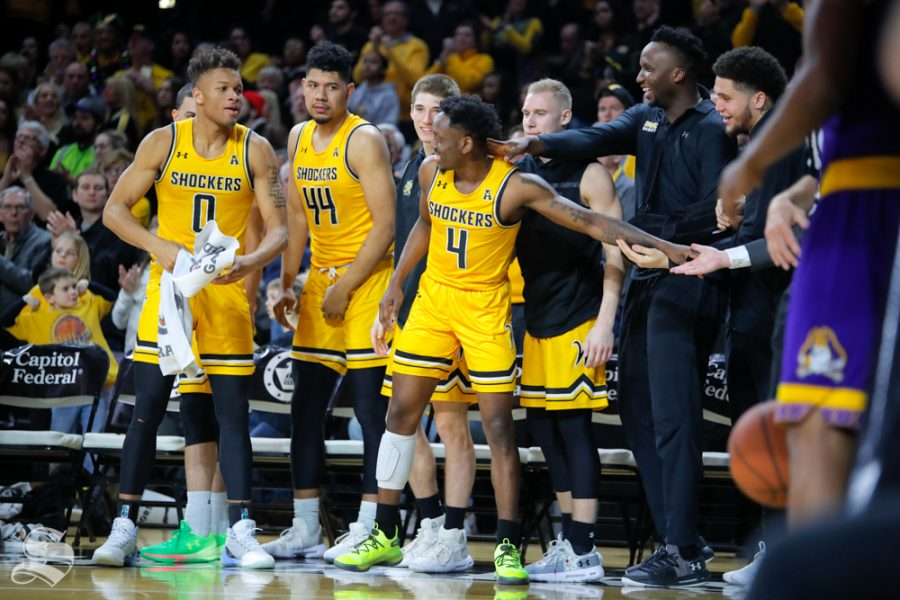 Wichita+State+senior+Samajae+Haynes-Jones+celebrates+with+his+teammates+after+stepping+off+the+court+at+Charles+Koch+Arena+for+possibly+the+last+time.+Wichita+State+beat+ECU+72-55+on+March+5%2C+2019+at+Charles+Koch+Arena.+%28Photo+by+Joseph+Barringhaus%2FThe+Sunflower.%29