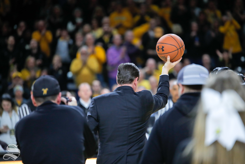 Coach Gregg Marshall received his 300 win basketball on March 5, 2019 at Charles Koch Arena. (Photo by Joseph Barringhaus/The Sunflower.)