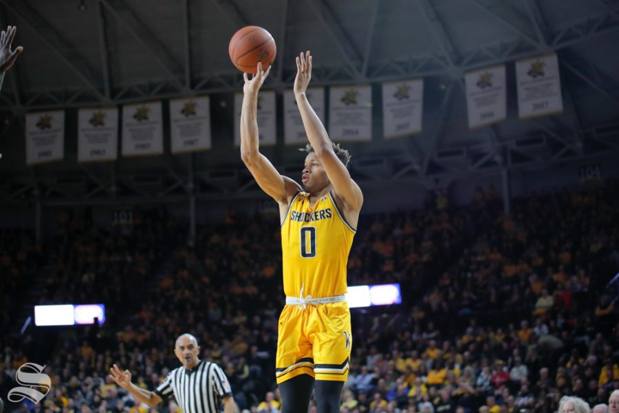 Wichita+State+guard+Dexter+Dennis+takes+a+shot+during+the+first+half+of+the+game+against+ECU+on+March+5%2C+2019+at+Charles+Koch+Arena.+%28Photo+by+Joseph+Barringhaus%2FThe+Sunflower.%29