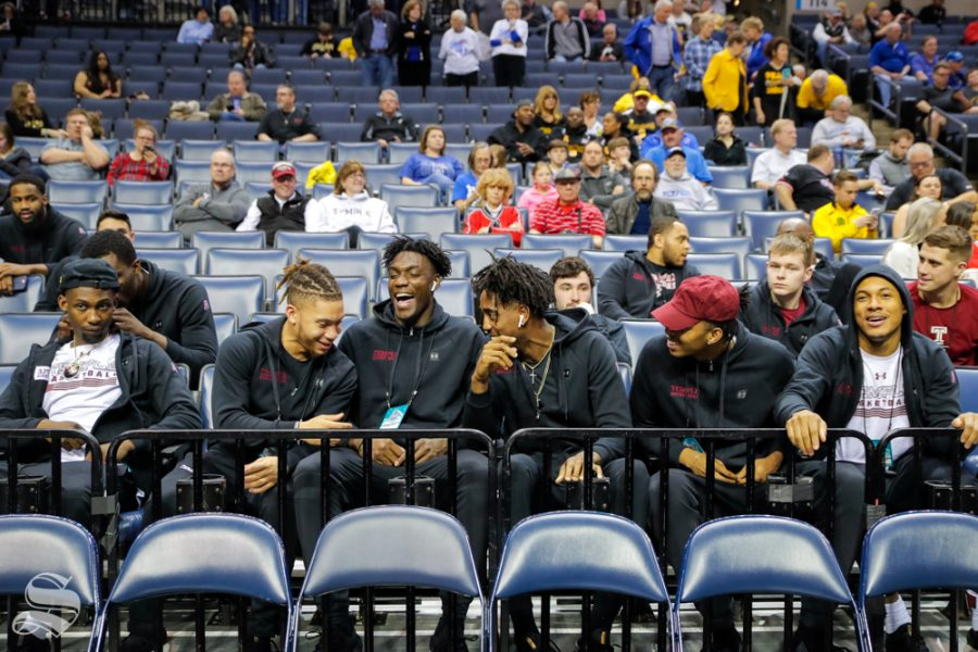 Temple players hangout before the Wichita State and East Carolina game on March 14, 2019. (Photo by Joseph Barringhaus/The Sunflower.)