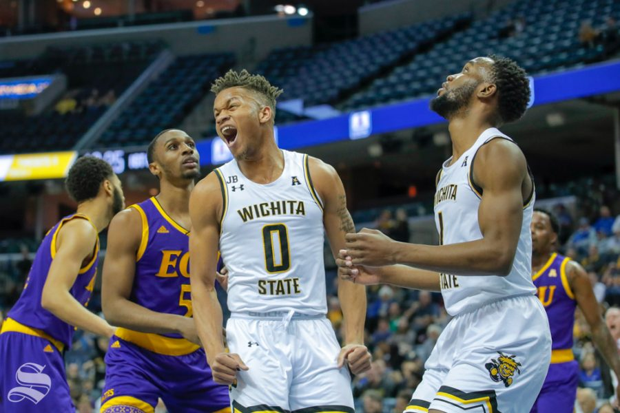 Wichita State freshman Dexter Dennis celebrates a made shot during the game against East Carolina on March 14, 2019 at the FedExForum in Memphis, Tennessee. (Photo by Joseph Barringhaus/The Sunflower.)