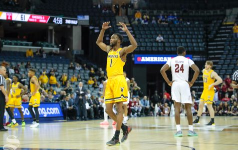 Wichita State forward Markis McDuffie calls for the fans to cheer louder during the second half of the game against Temple on March 15, 2019 at the FedExForum in Memphis, Tennessee. (Photo by Joseph Barringhaus/The Sunflower).