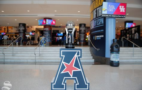 The American Athletic Conference tournement trophy sits in the concourse of the FedExForum before Wichita State's semifinal game against Cincinnati on March 16, 2019 in Memphis, Tennessee.