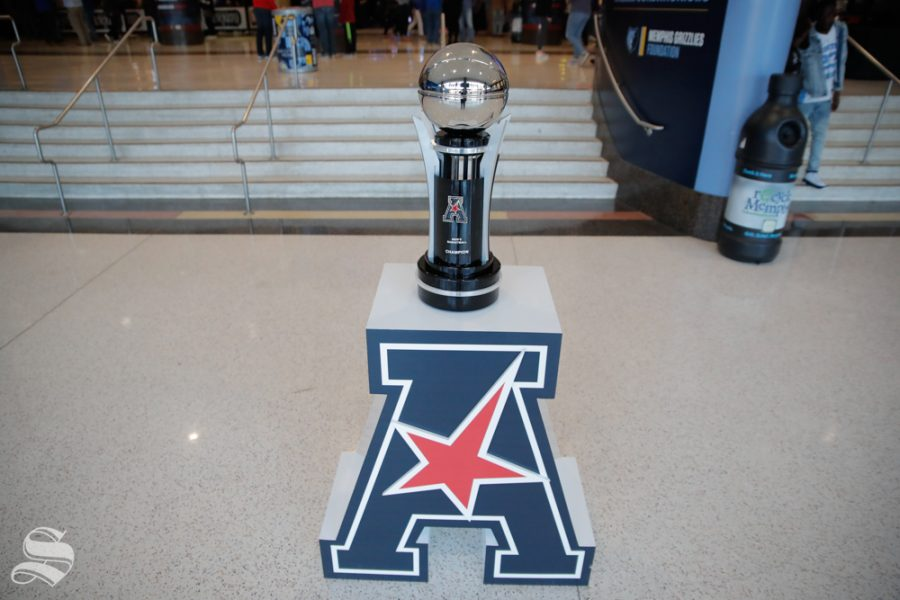 The+American+Athletic+Conference+tournement+trophy+sits+in+the+concourse+of+the+FedExForum+before+Wichita+State%27s+semifinal+game+against+Cincinnati+on+March+16%2C+2019+in+Memphis%2C+Tennessee.+%28Photo+by+Joseph+Barringhaus+%2F+The+Sunflower.%29