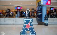 The American Athletic Conference tournement trophy sits in the concourse of the FedExForum before Wichita States semifinal game against Cincinnati on March 16, 2019 in Memphis, Tennessee. (Photo by Joseph Barringhaus / The Sunflower.)