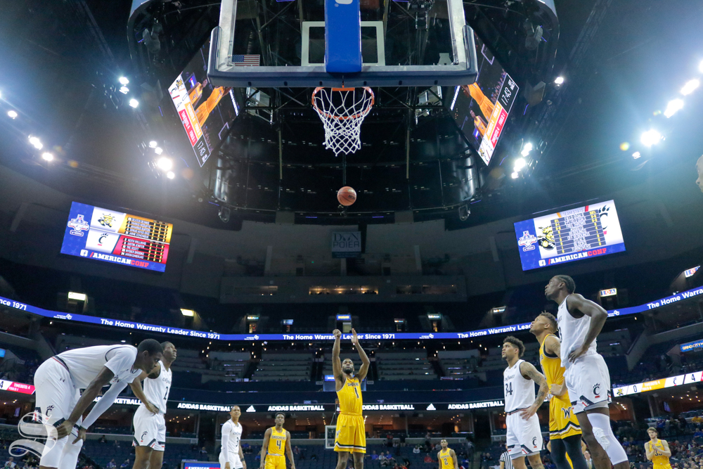 Wichita State senior Markis McDuffie takes a free throw during the first half of the game against Cincinnati on March 16, 2019 at the FedExForum in Memphis, Tennessee. (Photo by Joseph Barringhaus/The Sunflower).
