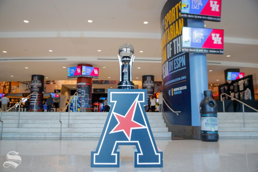 The American Athletic Conference tournement trophy sits in the concourse of the FedExForum before Wichita State's semifinal game against Cincinnati on March 16, 2019 in Memphis, Tennessee. (Photo by Joseph Barringhaus / The Sunflower.)