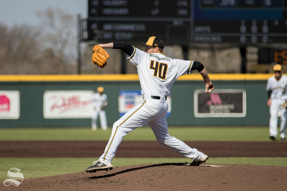 Wichita State senior Clayton Mcginness throws a pitch during their game against Creighton on March. 1, 2019 at Eck Stadium.