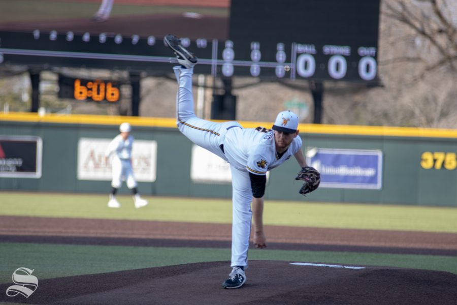 Wichita+State%27s+number+12+Ryan+Stempfig+strikes+out+Kansas+State%27s+first+two+batters+on+March+27+at+Eck+Stadium+%28Austin+Shaw%2FThe+Sunflower.%29
