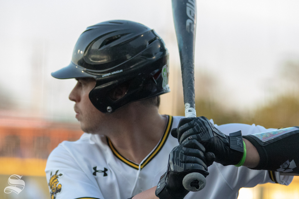 Wichita State player gets ready to bat during the game against Kansas State on March 27 at Eck Stadium (Austin Shaw/The Sunflower.)