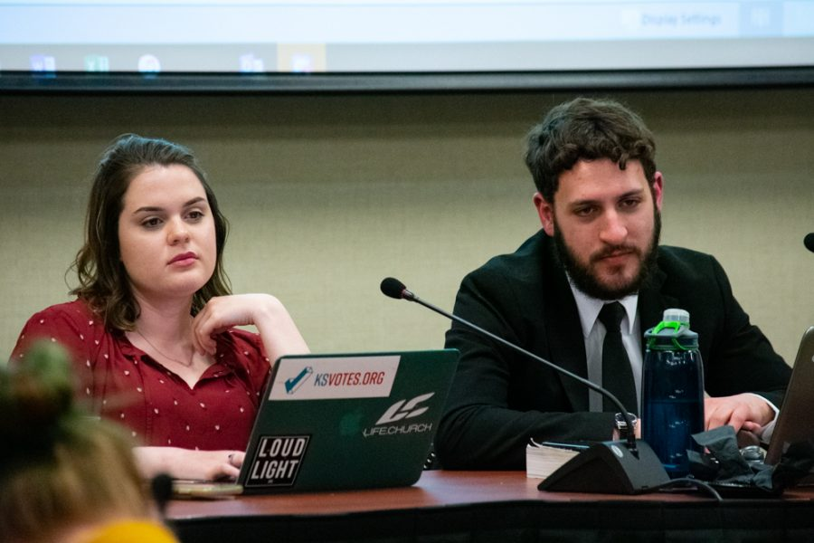 Student Body President Shelby Rowell and Acting Student Body Vice President & Chief of Operations, Matthew Madden, listen to student body Senators make statements during the Student Government Association meeting on Wednesday, March 27.