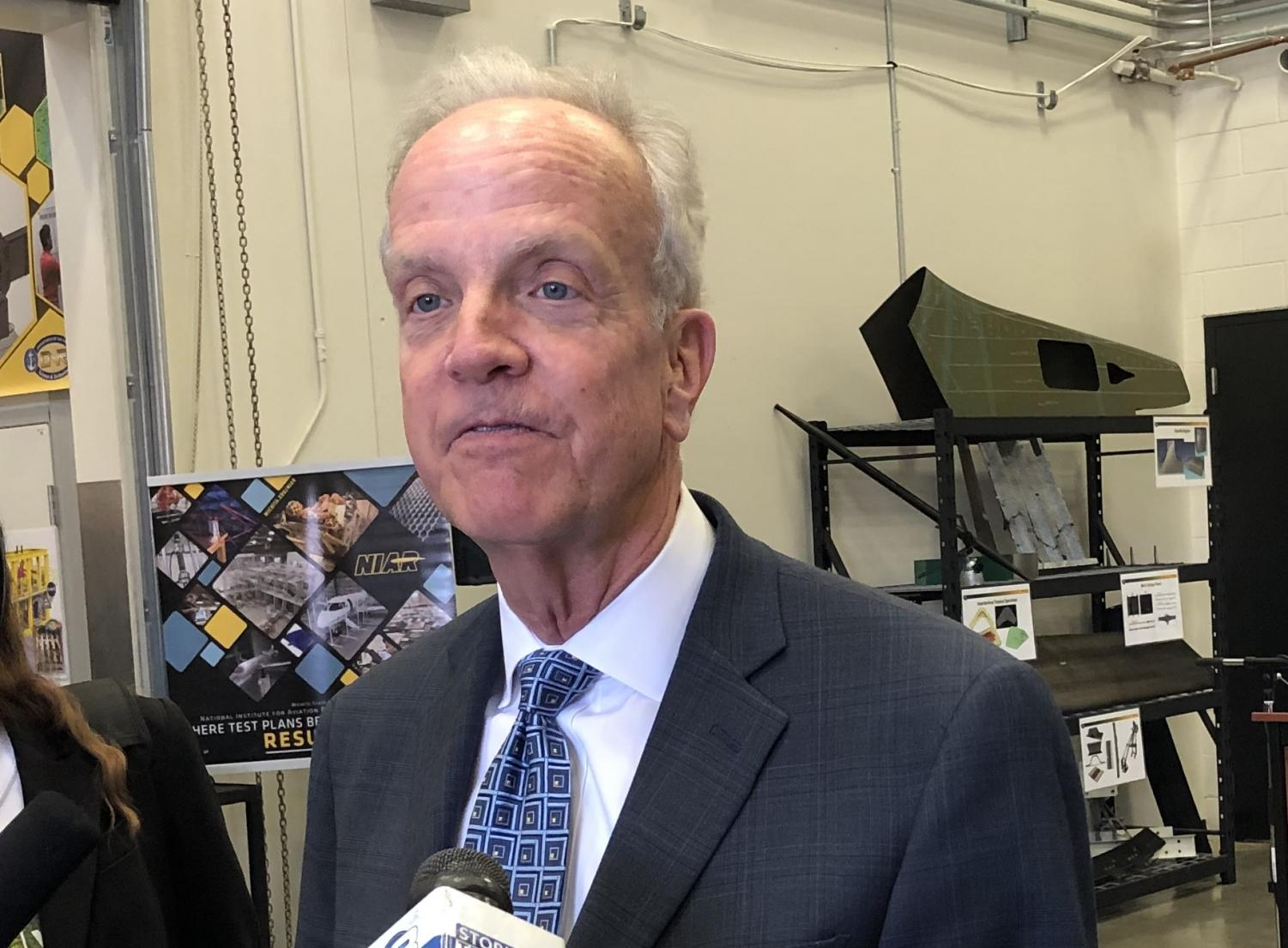 Kansas Sen. Jerry Moran takes questions from the media after a WSU news conference Friday announcing a $2 million grant from the U.S. EDA.