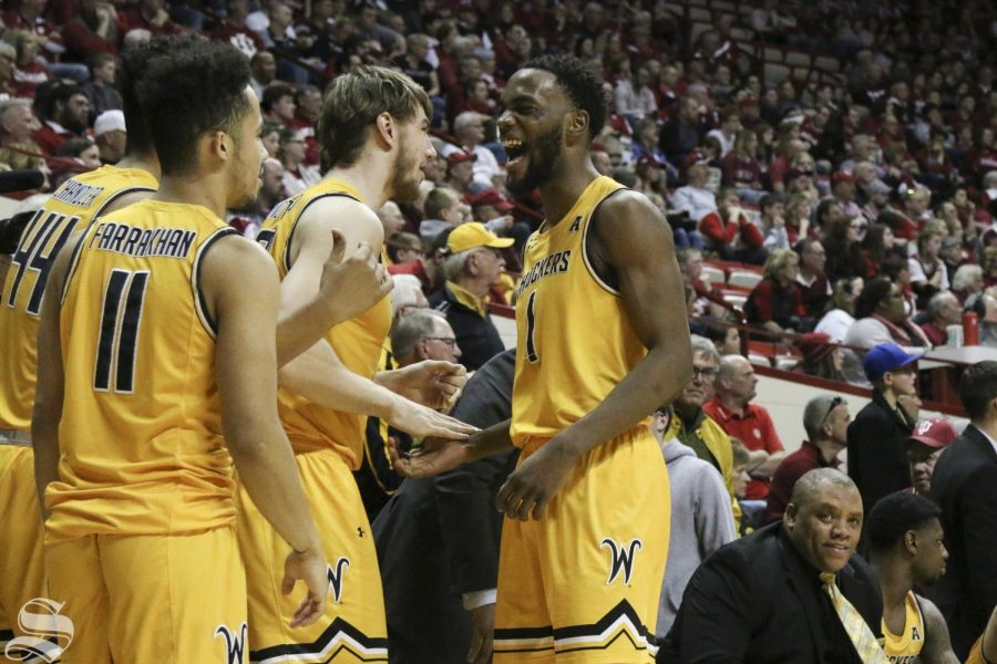 Wichita+State+senior+Markis+McDuffie+celebrates+after+winning+against+Indiana+in+the+quarterfinals+of+the+NIT+on+Tuesday%2C+Mar.+26%2C+2019.