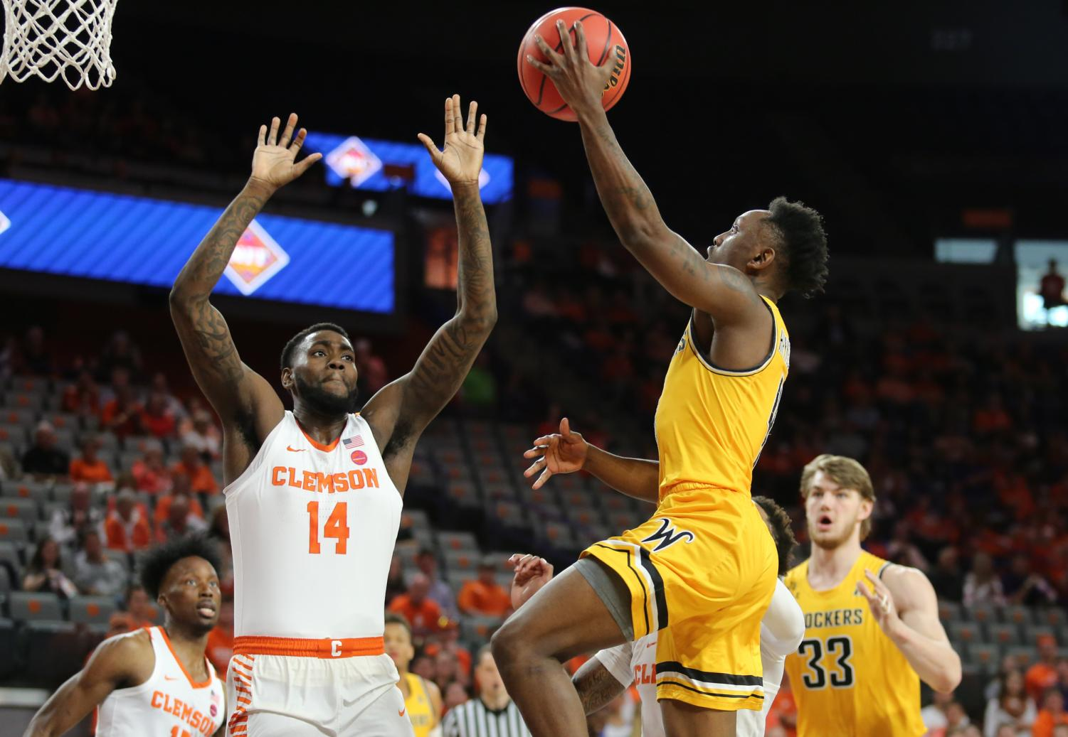 Samajae Haynes-Jones hit a late 3-pointer to advance Wichita State to the NIT quarterfinals. The Shockers beat Clemson 63-55.