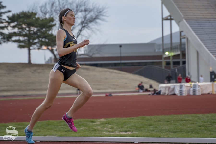 Wichita State's Rebekah Topham competes in the 1500m race at the Herm Wilson Invitational on March 22, 2019 at Cessna Stadium.