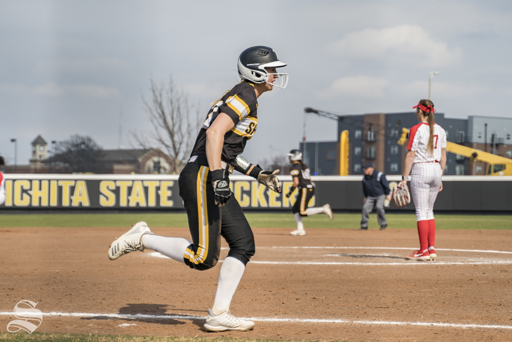 Wichita State senior Laurie Derrico runs home during their game against Houston at Wilkins Stadium on March 23, 2019.
