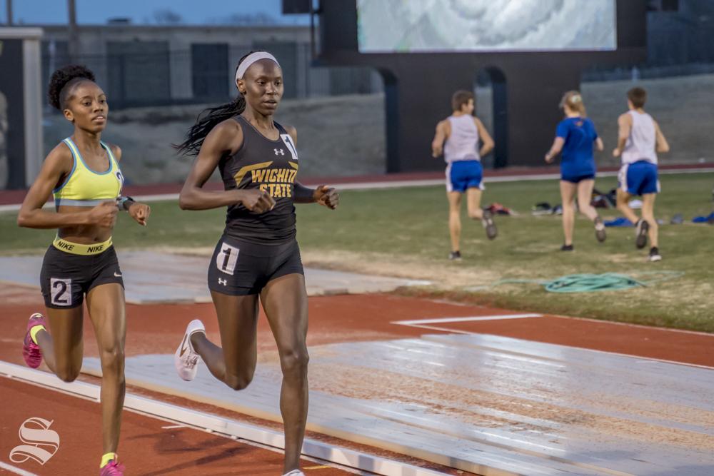 Wichita State's Winny Koskei broke the Wichita State 3000m school record, March 22, 2019 at Cessna Stadium.